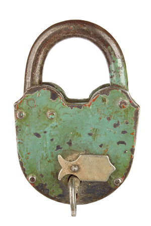 unprotected: old padlock with key on a white background