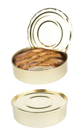 canned food: semi open a tin of sprats is isolated on a white background