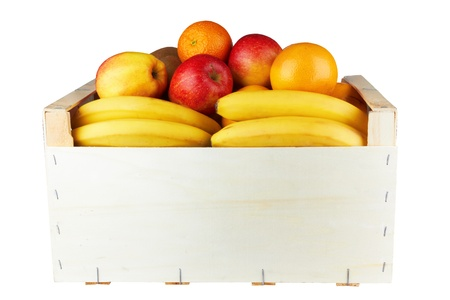 wooden box with fresh fruit