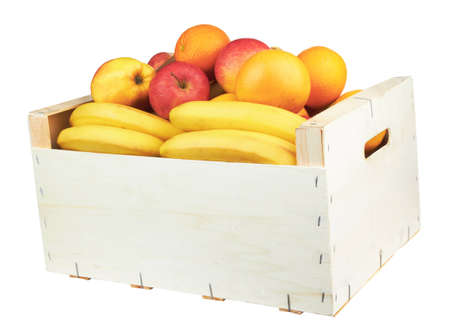 wooden box with fresh fruit, isolated on white  photo