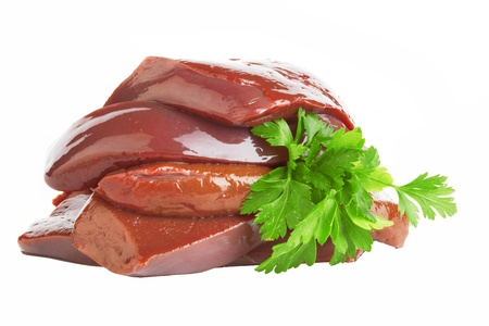fresh and raw liver on white background