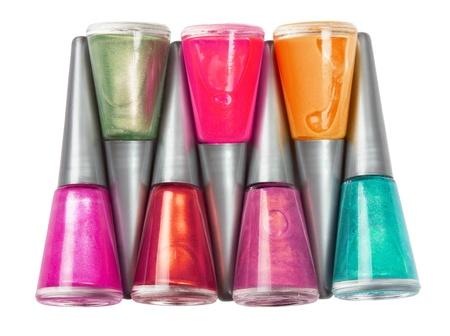 Bottles of nail polish on white background Stock Photo - 13108983