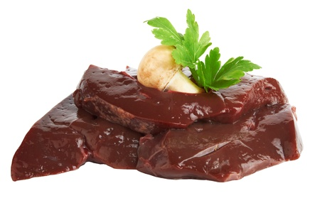 fresh and raw liver on white background photo