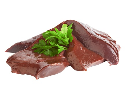 veal: fresh and raw liver on white background
