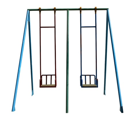Perfect childs swing isolated on white  Stock Photo