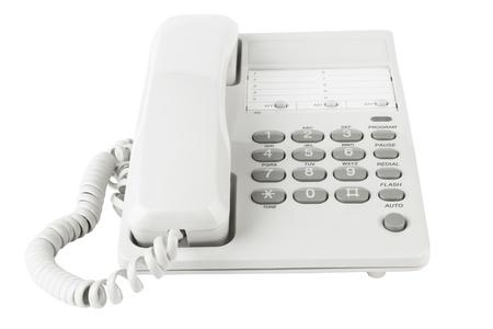 telephone: Tel�fono de la oficina blanca aislado en un fondo blanco