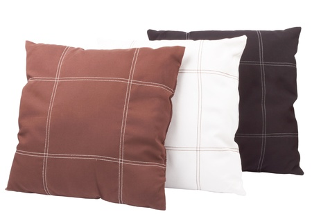 Three soft pillows isolated on white