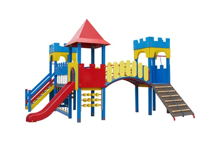 kinder garden: Colorful playground for children. Isolated on white