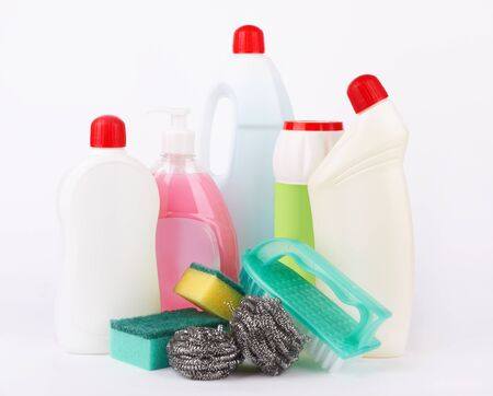 Assortment of means for cleaning on white  photo