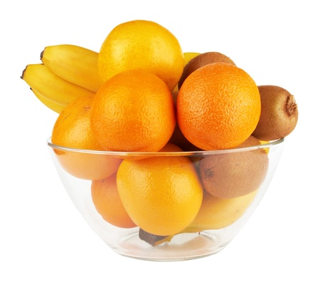 fruits in glass bowl isolated on a white Stock Photo - 14208842