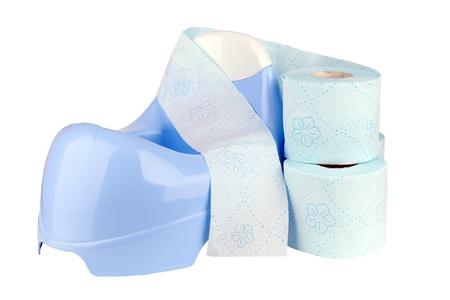 piddle: Blue potty with toilet paper isolated on a white
