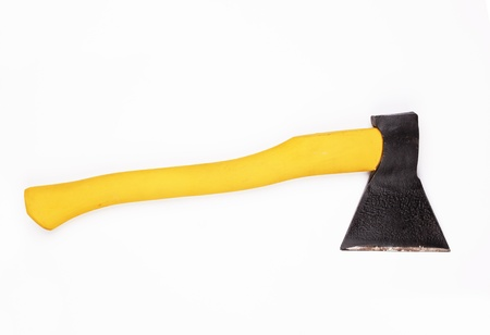 Axe with wooden handle on a white Stock Photo - 14465298