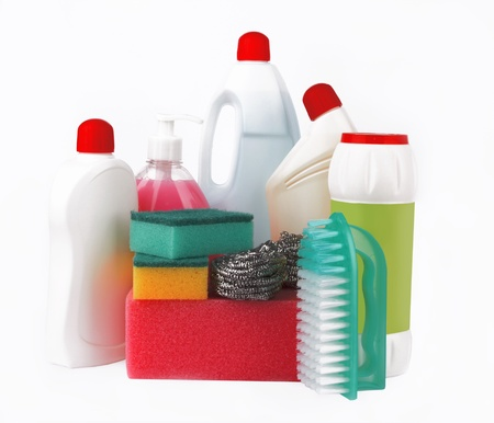 bright housekeeping: Assortment of means for cleaning on white