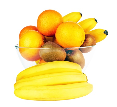 fruits in glass bowl isolated on a white Stock Photo - 14656384