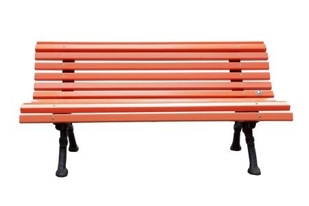 silla de madera: Banco de parque aislado sobre un fondo blanco