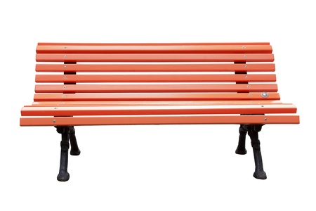 wooden bench: Park bench isolated over a white background  Stock Photo