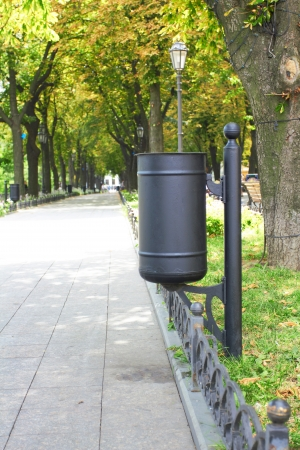 degradable: refuse bin in a park Stock Photo