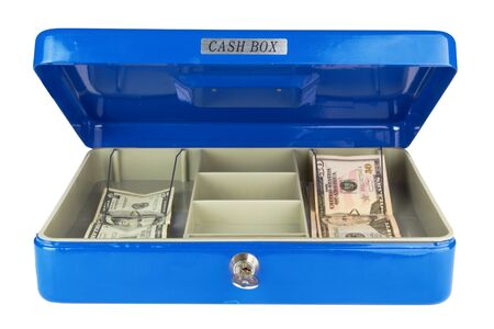 Dollars in blue cash box isolated on white  Stock Photo