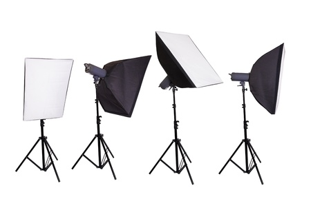 barndoor: Studio lighting isolated on the white background