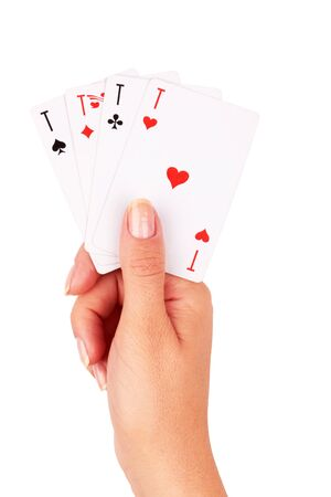 Playing cards in hand isolated on white background Stock Photo - 15841661