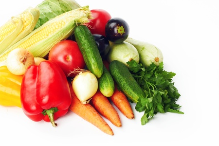 verschillende groenten op witte achtergrond Stockfoto