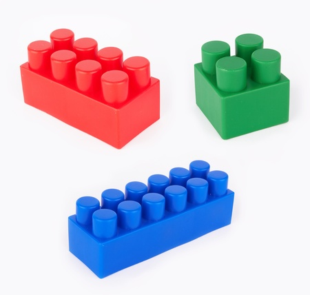 Plastic building blocks on white Stock Photo - 15844284