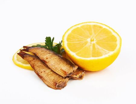 Smoked sprats in oil on white background Stock Photo - 16052132