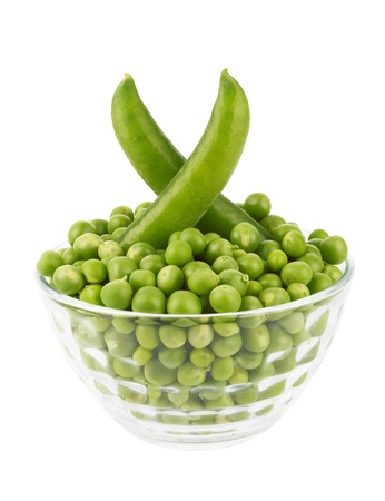 Pea Pod in bowl on a white background Stock Photo - 16400721