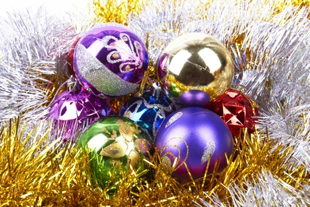 background made of christmas balls and tinsel Stock Photo - 16694512