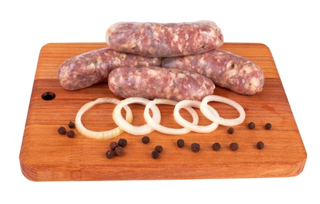 llonganissa: pile of pork meat sausages on a wood Stock Photo