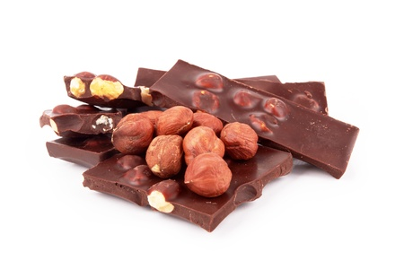 chocolate with nuts on a white background  Stock Photo - 16851016