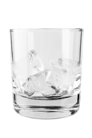 barware: Glass of ice cubes isiolated on white background with reflections  Stock Photo