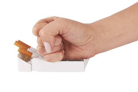 stop smoking fist with crushed pack of cigarettes Stock Photo - 16850998