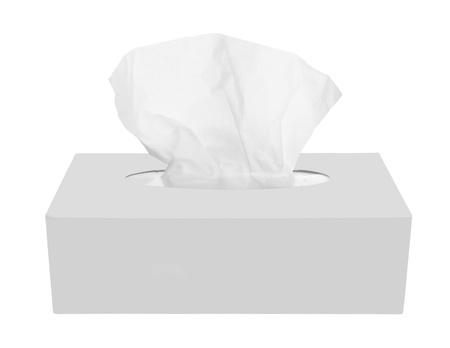 facial tissue: Tissue box isolated on a white