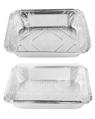 Baking dish from a foil on white