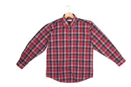 Red checkered shirt on wooden hanger Stock Photo - 17113441