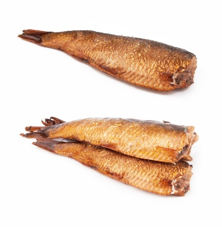 Smoked sprats in oil on white background Stock Photo - 17241786