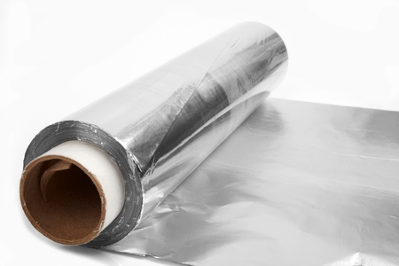 close up of an aluminum foil on white background