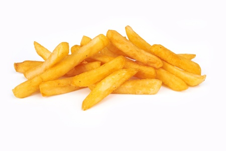 pile of french fries on a white