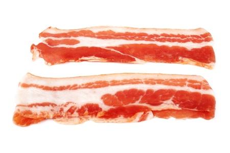 smoked bacon: Fresh sliced bacon on white background