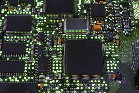 Detail of the front of a printed circuit board photo