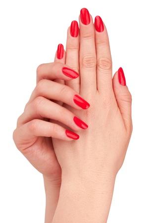 흰색 배경에 고립 된 손톱 빨간 매니큐어와 손