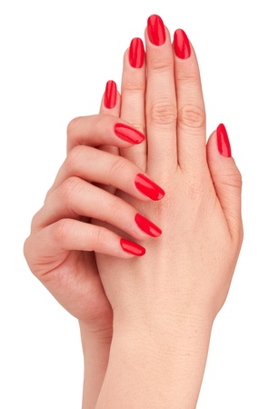 Hand met nagel rode manicure geïsoleerd op witte achtergrond Stockfoto