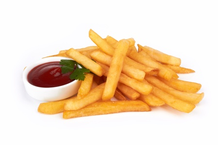 frites: French fries with ketchup on white