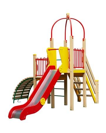 Kleurrijke speelplaats voor kinderen. Geà ¯ soleerd op wit Stockfoto
