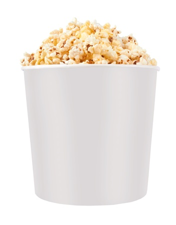 Full bucket of popcorn. Isolated on white photo