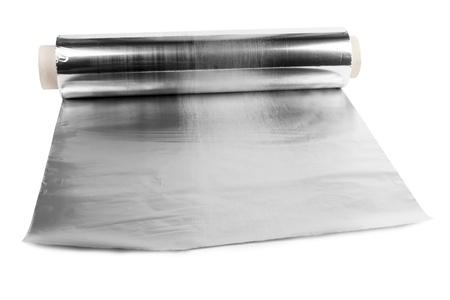 foil roll: an aluminum foil on white background