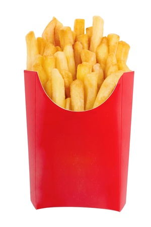 unhealthy food: French fries in a red carton box isolated on white