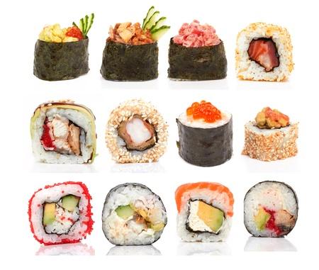 Raccolta di pezzi di sushi, su uno sfondo bianco Archivio Fotografico - 22133190