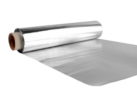 an aluminum foil on white background